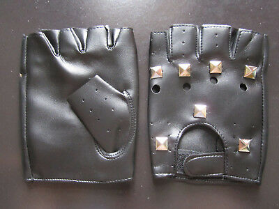 Half-finger PU Leather  studded Velcro Gloves  Theatrical Punk Halloween Black