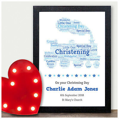 Baby Boys Name Personalised Picture New Baby Christening Baptism Print Gifts