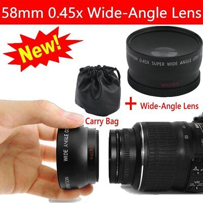 Pro 58mm 0.45X HD WIDE Angle LENS for Canon EOS 500D Rebel T1i T2i T3i + Bag HG