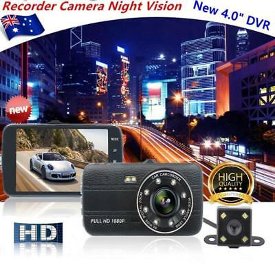 "4"" Dual Lens Car DVR 1080P Reversing Camera Video Dash Recorder G-sensor"