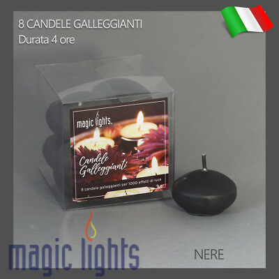 Candele Galleggianti Magic Lights Candela Galleggiante 8Pz Nere Autospegnimento