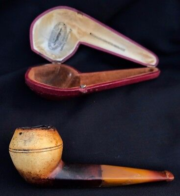 Ancienne Pipe Ambre Ecume Sommer Faivrets Antique Smoking Meerschaum Bulldog Or