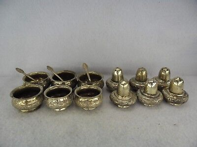 Set of 6 Persian White Metal c.1900 Salt & Pepper Pots