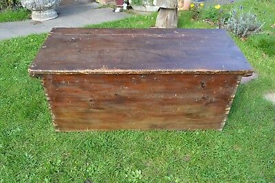 Pine trunk blanket box antique September 30th 1857 coffee table