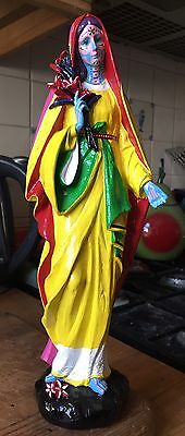 """OOAK Neon Day of the Dead 12"""" Virgin Mary Statue Ornament Gothic Alternative"""