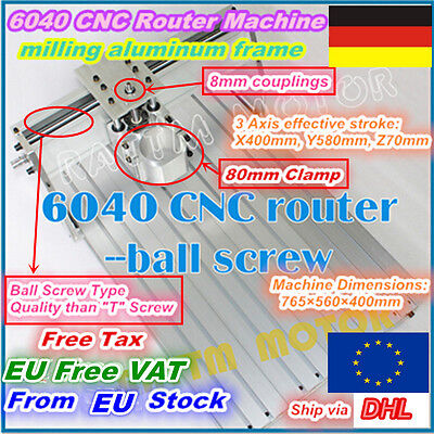 【EU free tax】 3 Axis 6040 CNC Router Frame Engraving Milling Machine+80mm Clamp