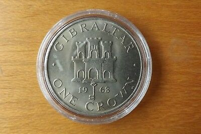 Gibraltar British One Crown Coin 1968 UNC Grade In Capsule Very Scarce.....