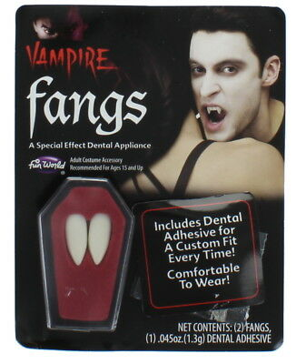 White Vampire Dracula Fangs Caps Teeth with Adhesive Adult Halloween Fancy Dress