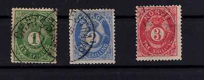 P44035 / Norvege / Norway / Sg # 33 – 36 - 39 Obl / Used 185 €
