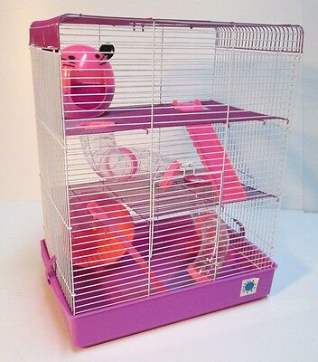 Penthouse Large Pink & Purple Syrian Dwarf Hamster Cage 3 Storey With Tubes