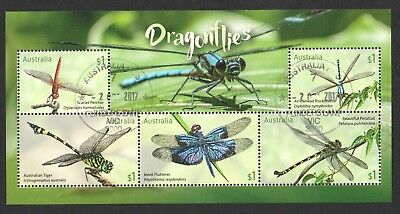 Australia 2017 Dragonflies Stamp Collecting Month Souvenir Sheet 5 Stamps Used