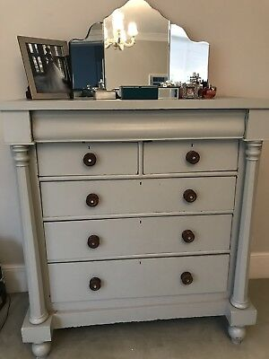 Antique Grey Painted Large Chest Of Drawers