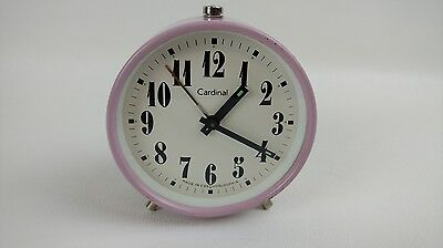 Cardinal Mid Century Wind up Alarm Clock Made in Czechoslovakia Pink Working HTF