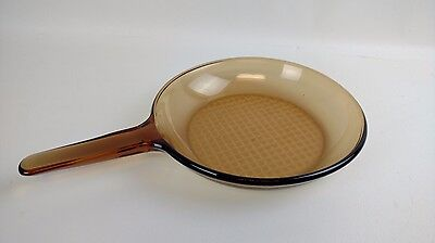 "Vision Corning France Amber 10"" Waffle Bottom Skillet Fry Pan Great Condition."