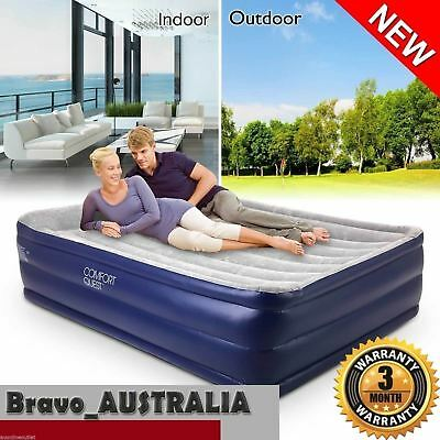 Bestway Queen Inflatable Air Bed Flocked Camping Mattress Built-in Electric Pump