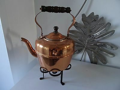 vintage copper coated teapot with stand-old rustic