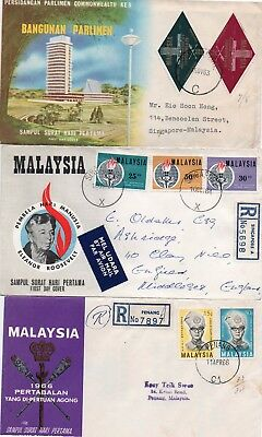 6 Malaysia first day covers 1960s, all with explanatory inserts