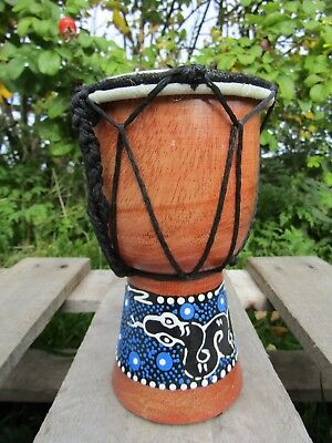Fair Trade Hand Carved Made Djembe Bongo Dot Painted African Influenced Drum