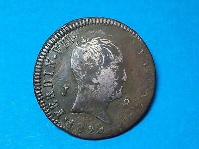 1824 Spain Ferdinand VII  J 8 Copper Coin