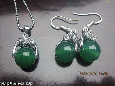 A Set Wholesale Asian Natural Green Jade Beads Necklace / Earrings