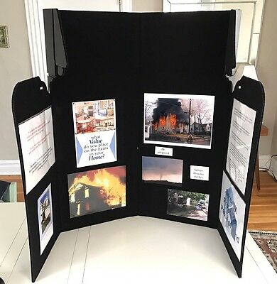 Professional Velcro Folding Display 4 Panel Presentation Board W/ Case 51 X 35
