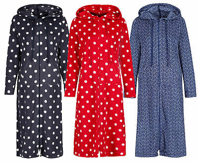 Ladies Womens Marks & Spencer Zip Dressing Gown House Coats Hooded 3 Designs M&s