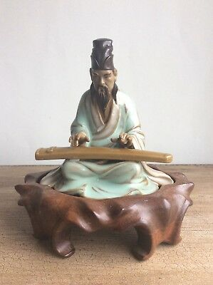 Real deal! Vintage Chinese Shiwan pottery figurine playing music