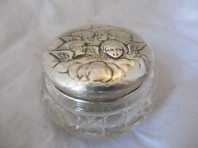 Sterling Silver Cut Glass Dressing Table Jar Antique Birmingham 1904 JCL02583