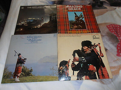4 x Pipes and Drums LP Records VGC