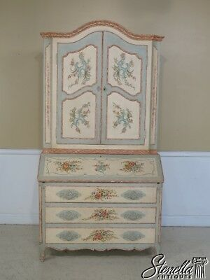 29132: BAKER Venetian Paint Decorated Secretary Desk