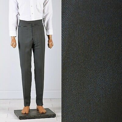 31x29 Mens Vintage 1960s 60s Mod Gray Blue Sharkskin Pants Deadstock Skinny Slim