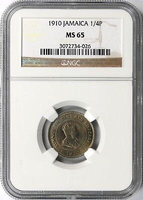1910 Jamaica 1/4P Quarter Penny (1 Farthing) NGC MS65