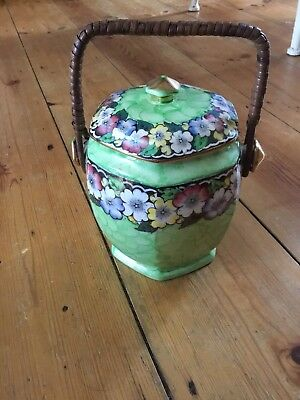 Maling Vintage Wicker Handled Ceramic Green Biscuit Barrel