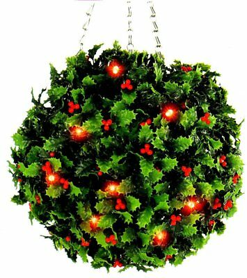 Holly Topiary Ball (20 Red Berry LED Lights) Garden Outdoor Christmas Decoration