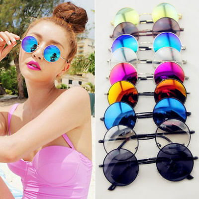 a3215ee0e6 Mens Womens Vintage Glasses Retro Round Metal Mirror Sunglasses Outdoor  Eyewear
