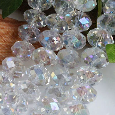 New 6x8mm 70-72pcs White AB Crystal Faceted Clear Loose Beads