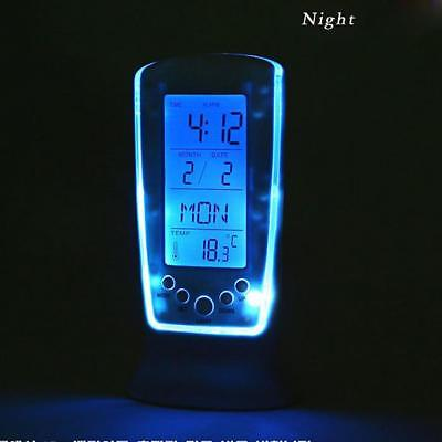 NEW LCD Digital Alarm Clock Calendar Thermometer Display Blue LED Backlight