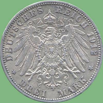 1912 'A' Germany (Prussia) 3 Mark Silver Coin (16.667 Grams .900 Silver)