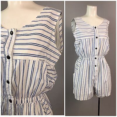 Vintage 1980s 1990s Blue and White Stripe Sleeveless Romper Shorts One Piece M