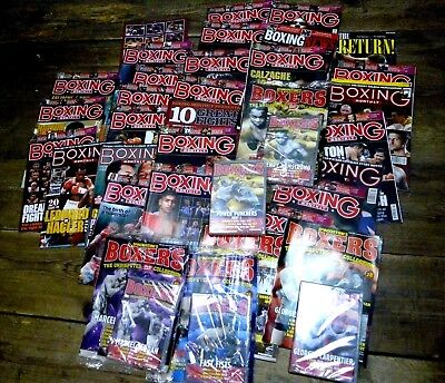 Job lot of boxing magazines - Boxing Monthly & DeAgostini Boxers mag + DVDs
