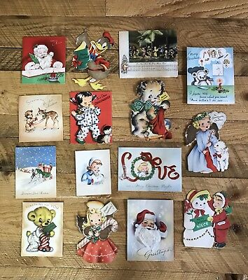 Vintage Christmas Cards   Used    Lot of 15    From 40's  Crafts Scrapbooking