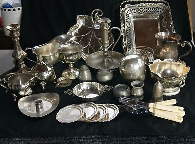 Job Lot 25  Items Collection Vintage Silver Plate & E P N S , Brass Various Etc