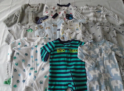 Used 10 Pc. Lot Of Newborn Baby Boy Clothes/sleepers Euc/vguc