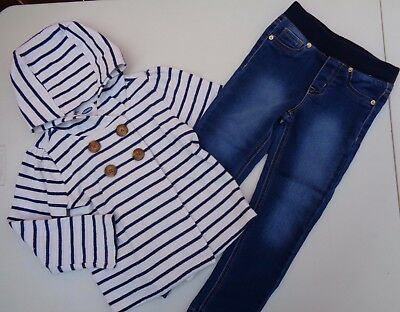 Lot of 2 Cat & Jack Jeans~Old Navy Hoodie Jacket hooded Size 4T Toddler Girls