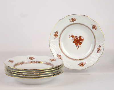 6 Herrend Chinese Bouquet Bowls White Rust 24k Gold 8.25""