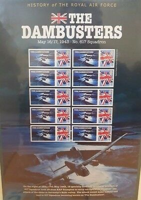 CC ~ RAF ~ Mint Stamps ~ 90th Anniversary ~ The Dambusters ~ 617 Squadron Sheet