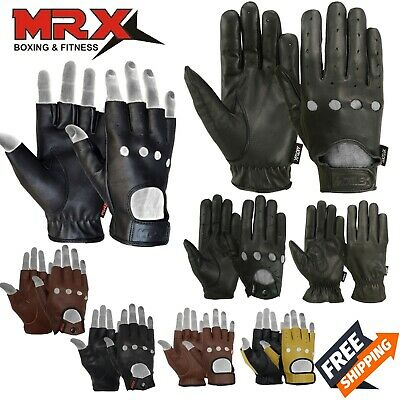 Mens Driving Gloves Basic Bikers Motorcycle Leather MRX Full Finger Button Black