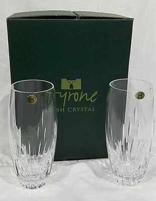 Tyrone Irish Crystal LEON Pair of New but NQP Boxed Water Tumblers, 16cm