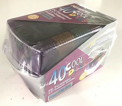 """NEW 40 Memorex Cool Disks 3.5"""" Floppy Disk 2HD Double-Sided PC Formatted"""