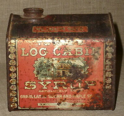 NOSTALGIC ANTIQUE EARLY 1910s TOWLE'S LOG CABIN MAPLE SYRUP ADVERTISING TIN